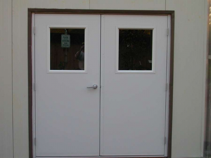 Double steel doors